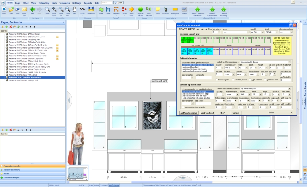 Alliance Millsoft millwork estimating software running in Planswift